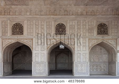 Marble Hall Of The Palace, Decorated With Richly Carved And Incrusted At The Red Fort. Delhi, India