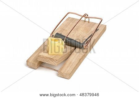 loaded mousetrap with cheese as bait on a white background