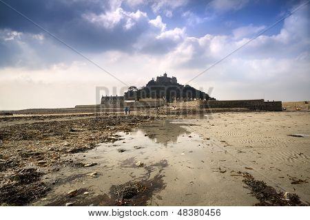 Low tide views of St Michael's Mount Marazion Cornwall England