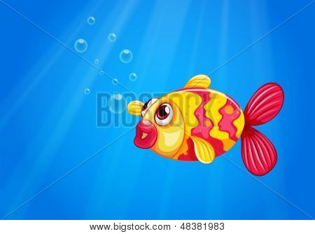 Illustration of a pouty fish in the middle of the sea