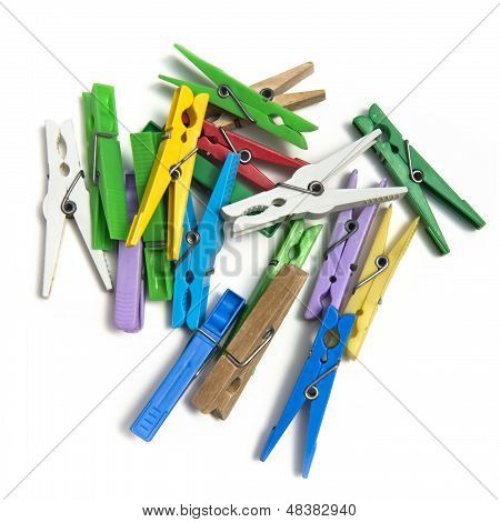 Group Of Colorful Clothespin.