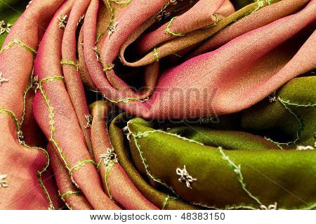 Pink And Green Satin Textile