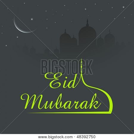 Shiny text Eid Mubarak with mosque design in shiny night background for Muslim community festival Eid Mubarak..