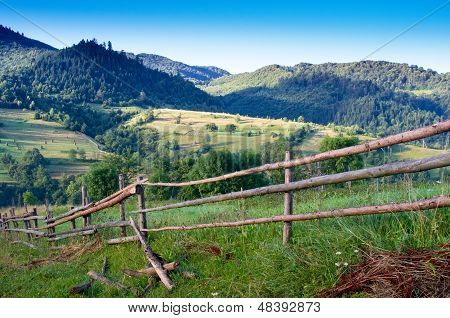 Wooden fence sticks in a village
