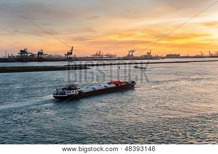 Ship in Nieuwe Waterweg canal.