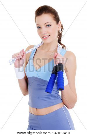 Woman Training With Jump Rope