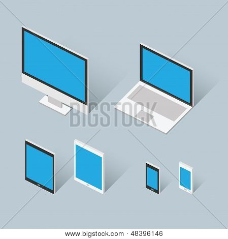 Isometric modern computer set vector illustration