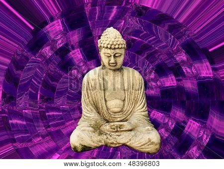 Buddha And Psychedelic Purple Background
