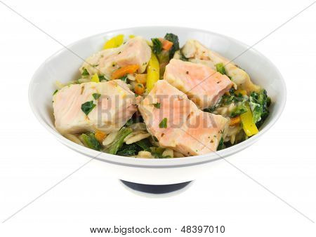 Salmon With Vegetables In Bowl