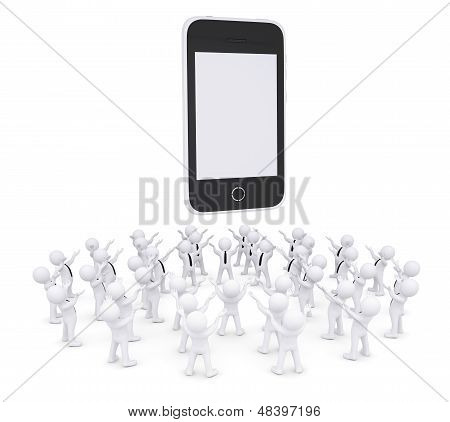 Group of white people worshiping smart phone
