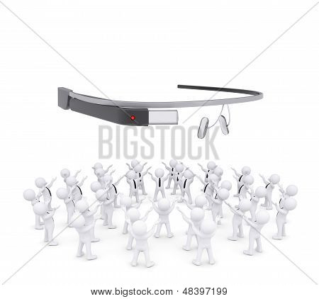Group of white people worshiping google glass