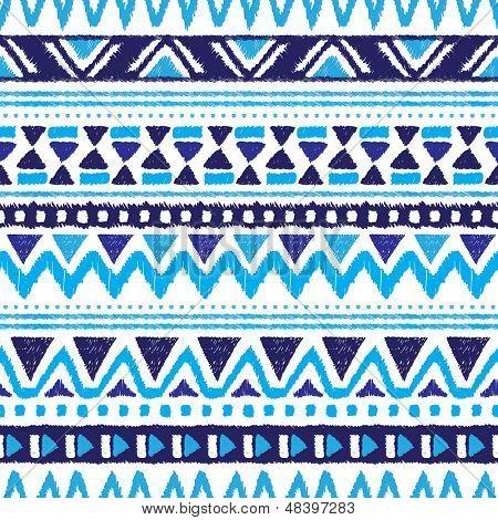 Patrón de fondo de folclore vintage Azteca azul tendencia inconsútil en vector
