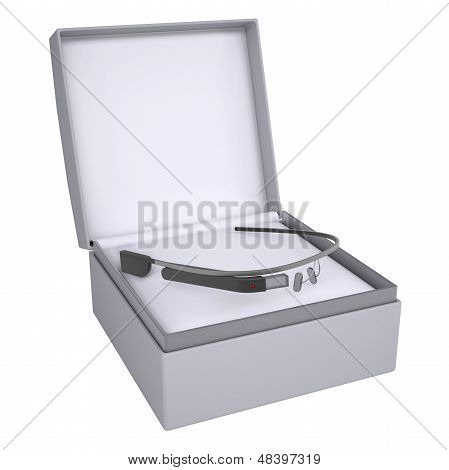 Google glass in open gift box