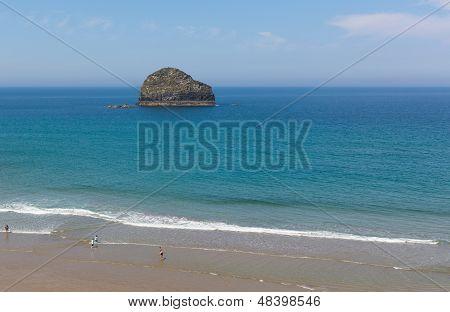 Gull Rock Trebarwith beach near Tintagel Cornwall England UK