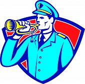 image of military personnel  - Illustration of a soldier military police personnel blowing a bugle set insde crest shield done in retro style - JPG