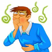 image of vomiting  - cartoon man feeling nauseous and about to throw up - JPG