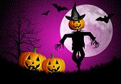 picture of scarecrow  - an illustration of a Scarecrow with pumpkins for Halloween - JPG