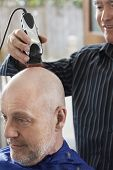 picture of electric trimmer  - Barber shaving senior man - JPG