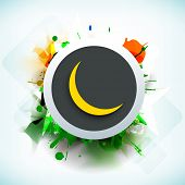 Tag, sticker or label with golden moon on grungy colorful background for Muslim community festival E