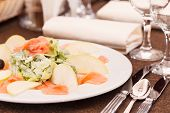 stock photo of butter-lettuce  - fish appetizer - JPG