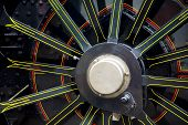 foto of loco  - Close up of a steam locomotives wheel - JPG