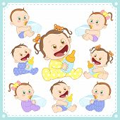 pic of twin baby girls  - vector illustration of baby boys and baby girls with white background - JPG