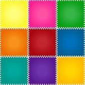 picture of quilt  - Seamless colorful patchework or quilt pattern with stitches - JPG