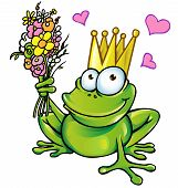 stock photo of amphibious  - funny prince frog with bouquet and heart vector project - JPG
