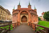 picture of fortified wall  - Cracow barbican  - JPG