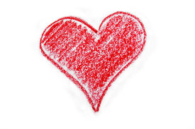 picture of valentine heart  - Drawing of red heart using crayon isolated - JPG