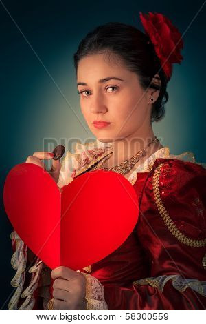Princess Portrait with Heart Shaped Card