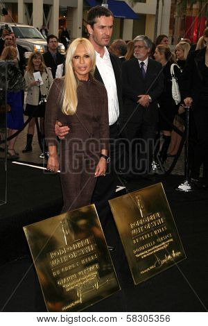 Donatella Versace and Rupert Everett at the plaque unveiling Rodeo Drive Walk of Style Plaque's Honoring Gianni Versace and Donatella Versace. Two Rodeo, Beverly Hills, CA. 02-07-07