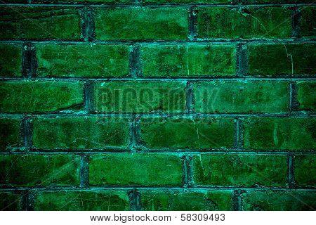 Brick Wall Background - Green