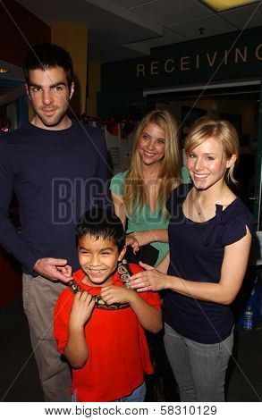 Zachary Quinto with Ashley Benson and Kristen Bell  at