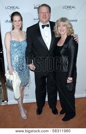 Kristin Gore with Al Gore and Tipper Gore at the 2007 Clive Davis Pre-Grammy Awards Party. Beverly Hilton Hotel, Beverly Hills, CA. 02-10-07