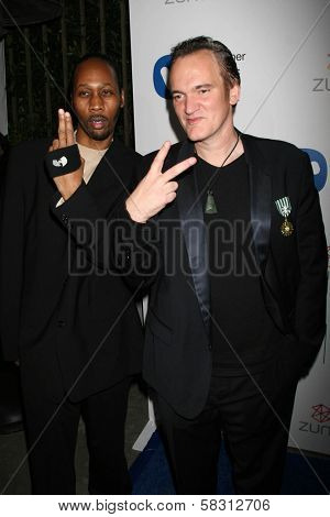 Rza and Quentin Tarantino at the Warner Music Group 2007 Grammy After Party. The Cathedral,  Los Angeles, CA. 02-11-07