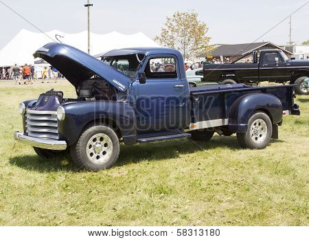 Blue Chevy 3800 Truck