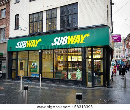 Subway fast food restaurant in Liverpool, UK