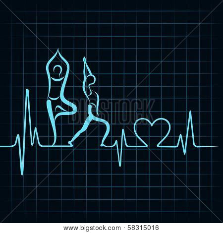 heartbeat make a yoga girl and heart symbol