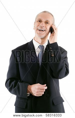 Pleasant And Laughing Businessman On Phone