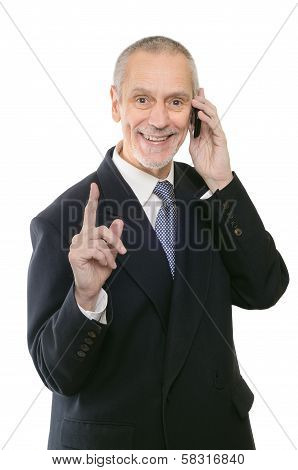 Pleasant And Smiling Businessman On Phone