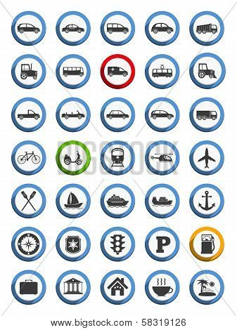 Transportation, Nautical And Travel Icons