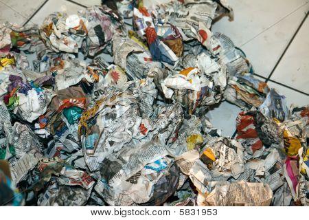 Big Pile Of Old Rumpled Newspapers