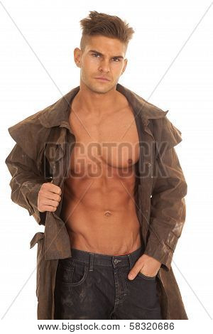 Man In Duster Open Shirt Serious