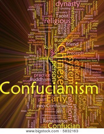 Confucianism Word Cloud Glowing