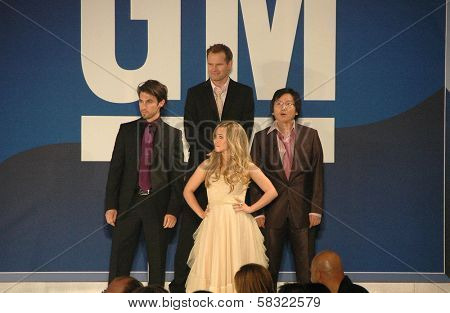 Milo Ventimiglia and Hayden Panettiere with Masi Oka and Jack Coleman inside at the 2006 GM TEN Fashion Show. Paramount Studios, Hollywood, CA. 02-20-07