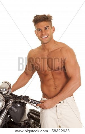 Man No Shirt Big Smile Stand By Motorcycle