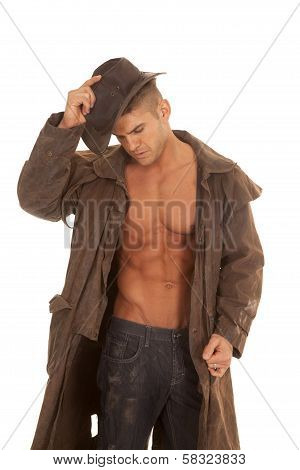 Man No Shirt Coat Hat Look Down