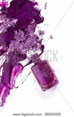 Purple Nail Polish And Crushed Eye Shadow