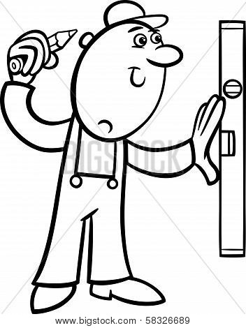 Worker With Level Coloring Page